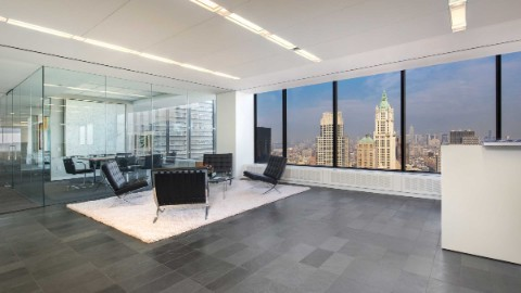 Image: 140 Broadway offers light bathed interior and great views.