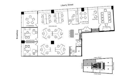 Graphic: Floor plan of 36th floor core and shell.