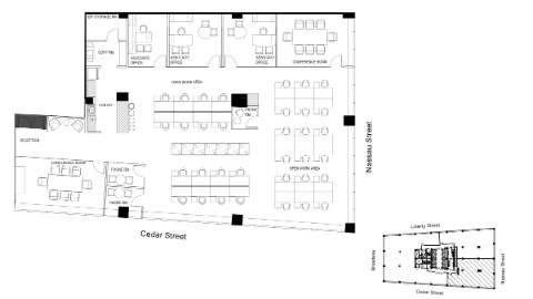 Graphic: Floor plan of 50th floor core and shell.