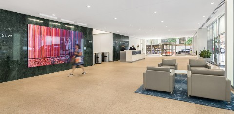 Image: Newly modernized Lobby at 140 Broadway building.
